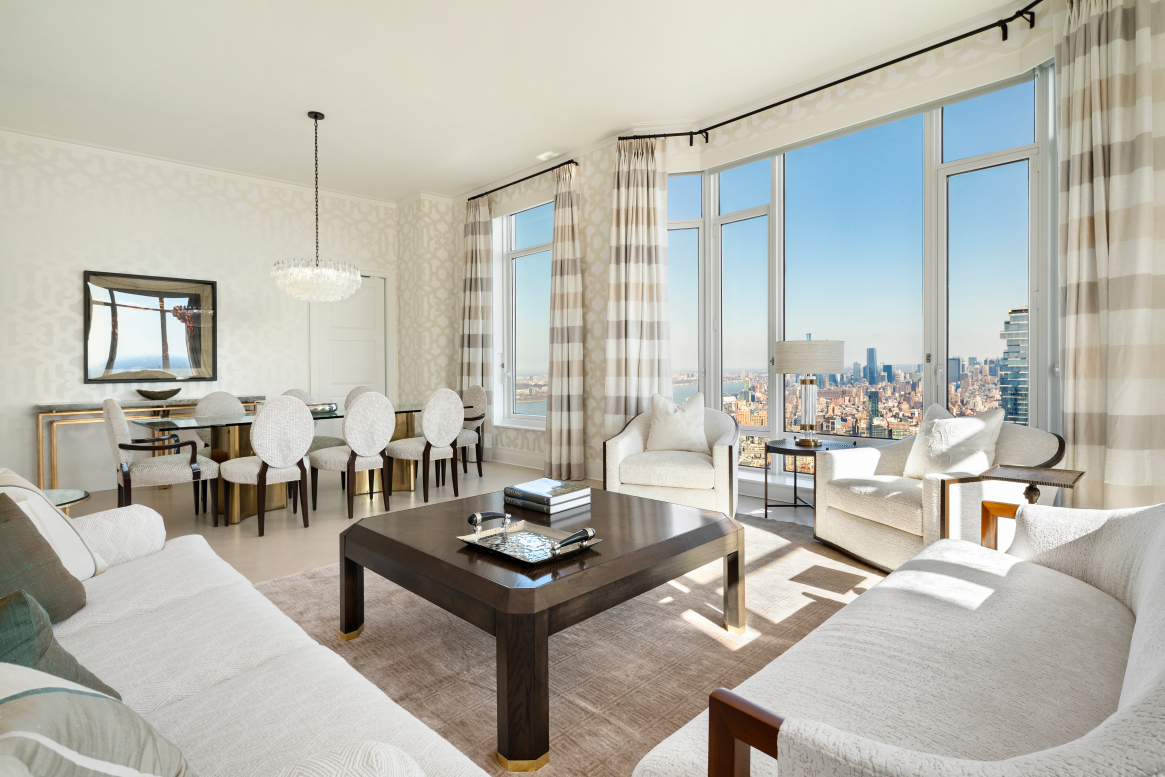 FULLY FURNISHED For a lease term less than 12 months, the rental price will vary, depending on length of lease. Inquire for more details.Experience the ultimate luxury of New York in this fully furnished 3 bedroom, 3.5 bathroom residence designed by the well known, Patrik Lonn.The moment you enter the apartment, you are swept away by the breathtaking views of the New York City Skyline as well as both Hudson & East Rivers. This home epitomizes the elegance of the coveted Four Seasons Tribeca condominium.Perched high on the 68th floor, the corner living and dining room is filled with sunlight from the 11 foot bay windows, which perfectly frame the view and leads you into the chef's eat-in kitchen. Expansive bedrooms include a luxurious master suite with 2 walk-in closets and a 5-fixture spa bath with marble counters and heated floors. Two additional bedrooms are privately located off the gallery with its own common space for a private den. The custom interiors designed by Robert A.M. Stern are beautifully displayed throughout the apartment, which feature: solid white oak floors in natural matte finish, Bilotta custom-designed white oak kitchen cabinetry, Gaggenau appliances, gracious marble countertops, five-fixture master bath with marble countertops & flooring with heating technology, Kallista fixtures & accessories, four-pipe fan coil heating and A/C system with dedicated zones, as well as all pre-wiring for home technology.30 Park Place offers a 175-room hotel at the base with 157 luxury condos above, all managed by Four Seasons. Residences have a separate entrance & lobby along with the services provided by an exclusively trained staff. The 38th floor houses resident-only amenities including a conservatory & lounge with lovely loggias, fitness center & yoga room, private screening room, private dining room & children's playroom. You'll also enjoy access to white-glove hotel amenities including: the acclaimed Wolfgang Puck restaurant/bar CUT, spa & fitness center, 75' heated pool, steam & sauna, attended garage & premier concierge service.