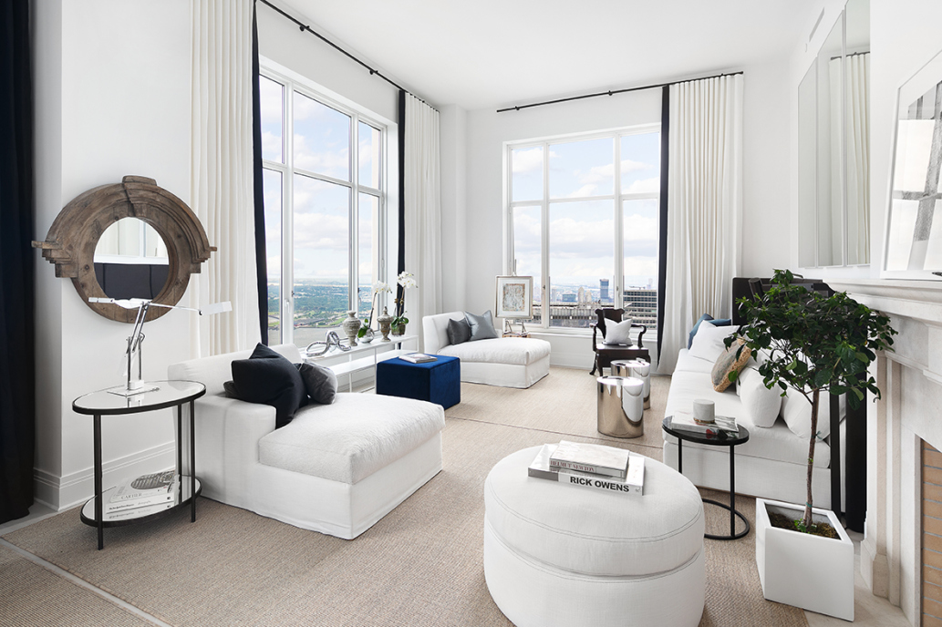 Enjoy sweeping skyline and river views as well as world-renown service 76th floors up at the Four Seasons Private Residences. This expansive never before lived in half floor penthouse has 3 masterfully designed bedrooms, 4.5 well-appointed bathrooms, 2 breathtaking loggias and soaring 16' ceilings. At 3,173 square feet, penthouse 76B welcomes guests in its spacious reception hall which leads to a sun drenched 30' south and west facing living room. Complete with French-limestone gas burning fire place and solid herringbone wood floors, the living room leads to a separate 18' corner dining room with south and east exposures. The eat in kitchen with Bilotta rift-cut oak kitchen cabinetry, wet-bar, and Gaggenau appliances, opens to the family room and eastern loggia. The master bedroom suite features two luxurious marble ensuite baths (one features a deep soaking tub and separate stall shower) and ample closet space including two walk-in closets. The two additional bedrooms feature full ensuite baths and access to the western loggia. State of the art systems include a ceiling hung, four-pipe fan coil HVAC with dedicated zones as well as custom motorized shades in every room. Penthouse 76B comes with a large private storage unit located within the building and a separate service entrance.Developed by visionary Silverstein Properties, Inc. Masterfully designed by Robert A.M. Stern Architects. Services by legendary Four Seasons Hotels and Resorts provide a new caliber of living to New York City residents. With residences beginning on the 39th floor, the sweeping views are unparalleled. Residents may enjoy access to Four Seasons Hotel amenities including a spa and salon facilities, 75' swimming pool, attended parking garage, restaurant, bar and lounge, ballroom facilities, and meeting rooms, as well as a comprehensive suite of a la carte services. The 38th floor is devoted to private residential amenities including a fitness center and yoga studio, private dining room, cons