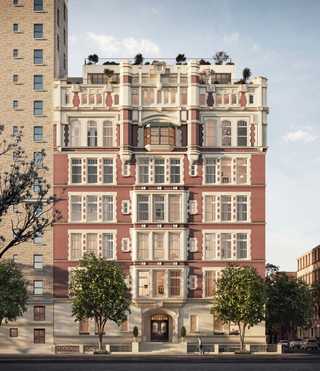 """The only new condominium in NYC with 18-½ foot ceilings in a 42-ft long Great Room, with towering arched windows, """"The Library"""" (2W) has 5 bedrooms, 5 en suite baths & a powder room. With a private landing & 3463 SF on two levels, the Library is one of 13 extraordinary, one-of-a-kind residences in Tamarkin Co.'s conversion of this landmarked former school. The kitchen features solid white fumed oak cabinets crafted by Christopher Peacock, with fluted glass cabinet fronts and Nanz hardware, and is open to the 37 ft Great Room providing a relaxed living and dining environment. Additional features in this absolutely gorgeous kitchen include white oak plank floors, polished Arabescato marble slab countertops and backsplash, vented Wolf 48"""" dual fuel range, Sub-Zero fridge & separate freezer, wine storage, microwave and warming drawers, two dishwashers, Lefroy Brooks faucets, garbage disposal, pot filler & more. On this floor are 3 en suite bedrooms, a powder room, large pantry, butler's pantry and laundry room. En suite secondary baths are outfitted with the highest quality stone & hardware.   Upstairs, on the mezzanine level, the light-filled, south-facing master features two walk-in closets, and a luxurious bath with Calacatta gold marble slabs, custom white oak vanities by Christopher Peacock, double sinks with Lefroy Brooks fixtures, Zuma soaking tub, radiant-heat floors, towel warmers, steam shower & Toto Neorest smart toilet. This level overlooks the Kitchen and Great Room, making for a dramatic double height experience.  Amenities include a 24/7 attended lobby with refrigerated storage, bike room, and stroller valet. The day lit gym features state-of-the-art equipment & the rec room features a wet bar, pool table, dart board, lounge chairs, and large-screen TV.   The complete offering terms are in an offering plan available from the sponsor, file #CD17-0364. Co-exclusive."""