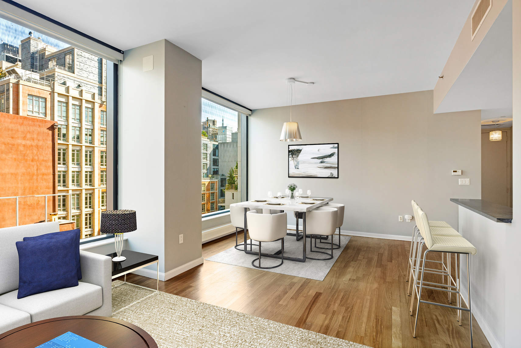 Live in luxury in this bright and oversized one bedroom in highly sought after 505 Greenwich Street.9F easily converts to a 2 bedroom home but many will appreciate the oversized living/dining rooms with nearly 10 foot ceilings which make this already large home feel more expansive. Add the wall of windows with beautiful city and open sky views and you know you've found home.In home washer/dryer, central a/c, subzero fridge, wine fridge and viking range are some of the many outstanding features of 9F. Separate storage is included.The fabulous building has 24-hour doorman / concierge, gym, pet spa, expansive zen garden, bike storage and live-in superintendent.If you don't know the area, you owe it to yourself to check it out - easy proximity to Tribeca, SoHo and the West Village. There are numerous restaurants and bars frequented and loved by locals. Hudson River Park is just blocks away with jogging and bike paths and green space. Very close to the 1 and C/E trains. Bring your pets and call this home.Taxes reflect condo/co-op abatement for primary ownership.