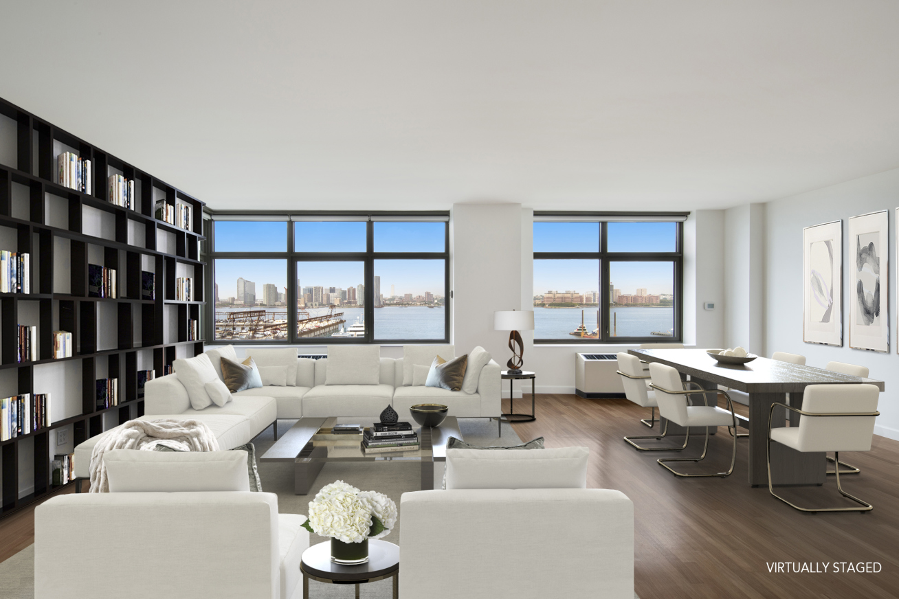 West Village Full Riverfront 2BR/2.5BA condo masterpiece at Morton Square. With almost 60ft of riverfront windows, this magical space showcases breathtaking views and is a once in a lifetime opportunity.Sprawling and truly cavernous, this turnkey home boasts a world-class open kitchen fully-equipped with top-of-the-line Viking and Sub-Zero appliances. Enjoy hardwood floors, oversized windows, 10ft ceilings throughout, polished limestone baths, and a washer/dryer.Finally, a chance to have it all at Morton Square, the West Village's premier 6 star condominium.Morton Square is renowned for its decidedly uptown complimentary amenities such as full scope doorman and concierge, children's playroom and activity center, in house valet service (from dry cleaning to private chef service!) - on premises underground valet parking, and a 3000 square foot state-of-the-art fitness club - where private trainers are welcome.Ethereal resort living with no compromise in the heart of the West Village. Seize this opportunity to have it all in the heart of it all! This stunning space must be seen to be believed, quickly!