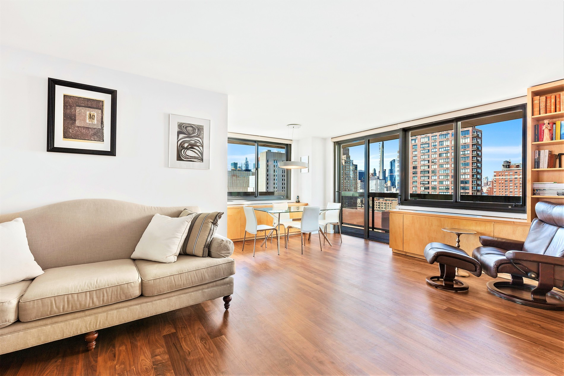 As the 515 East 72nd Street owner/residents and brokers, we are delighted to offer this lovely 2-bedroom/2-bath home featuring outstanding southern and western views from the 28th floor with a private wraparound balcony. With your custom kitchen featuring walnut and lacquered cabinetry, Corian counter tops, Basaltina lava stone back-splash, and top-of-the-line appliances such as a Miele dishwasher, Thermador stove and a new Liebherr refrigerator, you will enjoy your morning cup of coffee at your dining table or sitting outside on your lovely wrap-around balcony. Generous closets are located throughout, including one that stores a new Bosch washer and dryer. The bathroom walls are made of custom-designed crema d'orcia bamboo-textured and honed Piombo tiles with Watermark fixtures. The floor plan has been designed to maximize privacy with the master bedroom, which boasts an en-suite bathroom, split from the second bedroom. Special features are found throughout the apartment, including custom cabinetry and the mirrored living room wall.  (Please note that real estate taxes shown are net of NYC condo primary resident abatement  also there is a monthly capital assessment of $463 through September 2021 to fund the renovation of the common spaces).515 East 72nd Street offers 40,000 square feet of exclusive resident-only world-class spa living with amenities which include a half-acre private park, state-of-the-art fitness center with Peloton bikes, 56' indoor pool, 2 hot tubs, locker rooms with sauna and steam rooms, daily scheduled group fitness classes, Jodi's Gym play space with classes, art and activity room with classes, piano lounge, 24/7 coffee bar adjoining our piano room/lounge, squash, racquetball and basketball court, yoga/pilates/ballet room, game & video lounge with large-screen television, outdoor movies, cooking classes, wine tastings, complimentary resident parties and more! In our private Elements Spa residents can book massages, facials and manicures. Our 