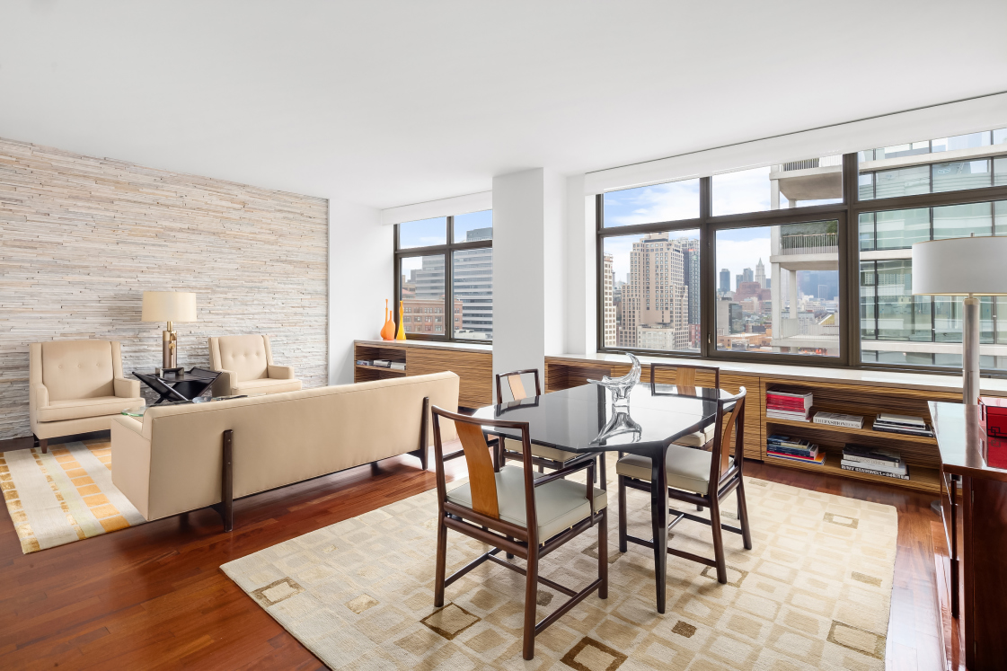 Open sky for miles from this sprawling 2br/2.5ba West Village high floor doorman condo at One Morton Square. Sunblasted and southfacing  this totally turnkey home shows like a tear sheet from Elle Decor. Open, elegant, fluid  and gracious, this West Village home has it all.Just outside your front door is Soul Cycle West Village, Gotham and all the unique dining and entertainment that is coveted in the West Village.Morton Square is renowned for its decidedly uptown complimentary amenities such as full scope doorman and concierge, children's playroom and activity center, resident club, in house valet service (from dry cleaning to private chef service!)  on premises underground valet parking, and a 3000 square foot state-of-the-art fitness club  where private trainers are welcome.Ethereal resort living with no compromise in the heart of the West Village.